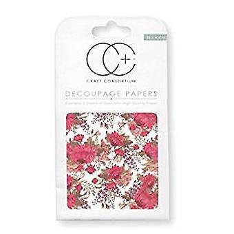 Craft Consortium Red Peony Decoupage Papers (CCDECP141)