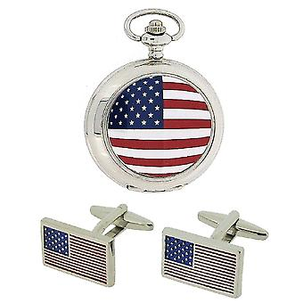 Boxx American Flag Pocket Watch With 12