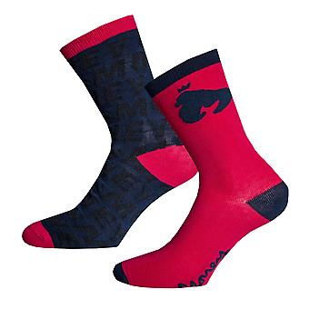 Boys Money Black Label Fashion 2 Pack Socks In Navy- Ribbed Cuffs - One Pair