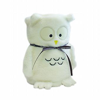 Kids Plush Fleece Cuddle Blanket: White Owl