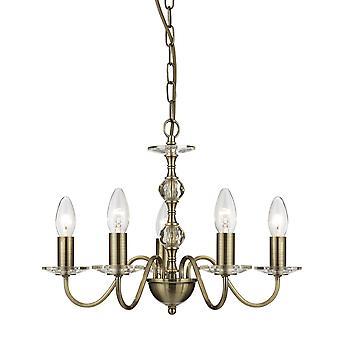 Monarca antiguo bronce y vidrio cinco luz candelabros - reflector 3455-5AB