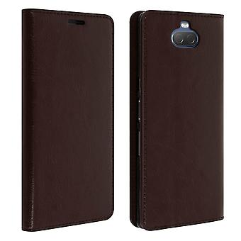 Business leather book case, stand case for Sony Xperia 10 - Brown