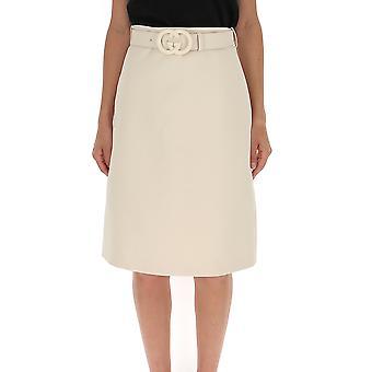 Gucci White Cotton Skirt