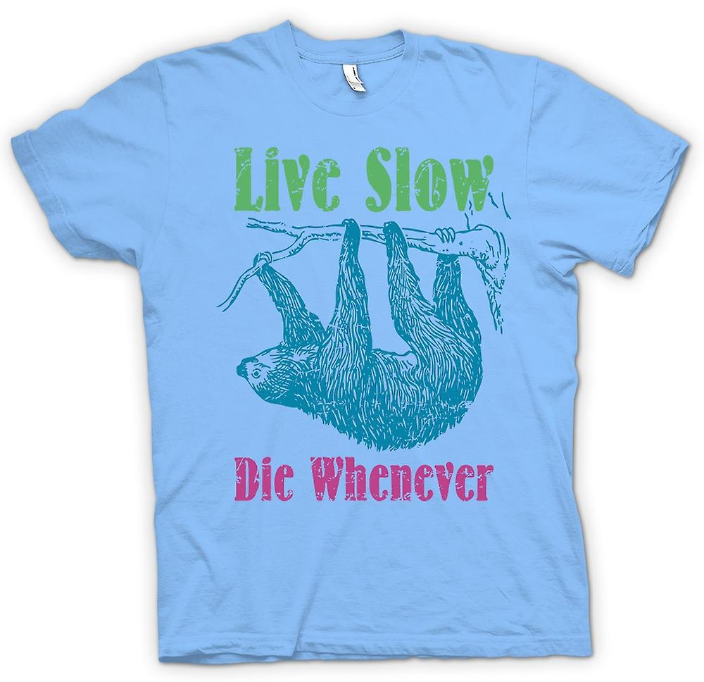 Mens T-shirt - Live Slow Die Whenever - Cool Sloth