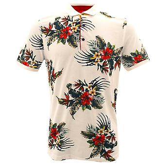 Claudio Lugli Tropical Flower White Pure Cotton Polo Mens T-Shirt