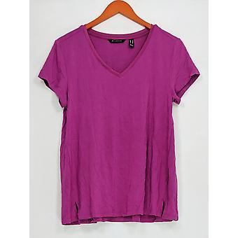 H door Halston Women ' s top Essentials V-hals w/voorwaartse naad paars A306231