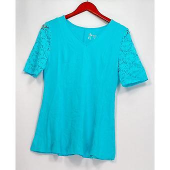 Denim et Co. Femmes -apos;s Top XXS Fit et Flare Lace Elbow Sleeve Blue A290115