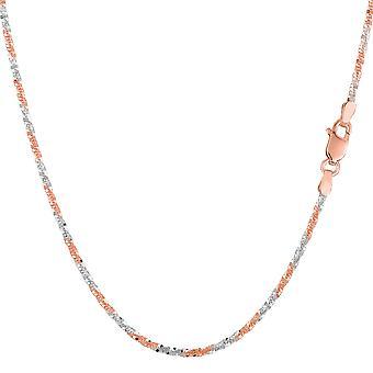 14 k 2 tono rosa y blanco brillo oro collar de cadena, 1, 5 mm