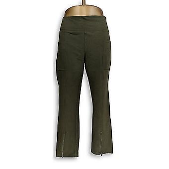 Denim & Co. Leggings Active w/ Pockets & Zippers Green A309445
