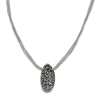 Stainless Steel Druzy Agate Polyester Cord Necklace - 17.5 Inch