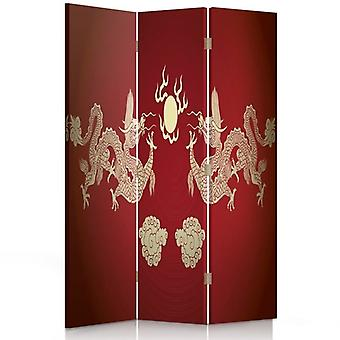 Room Divider, 3 Panels, Double-Sided, 360 ° Rotatable, Canvas, Two Dragons