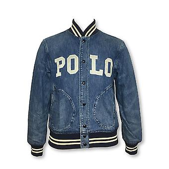 Ralph Lauren Polo varsity jacket in blue denim