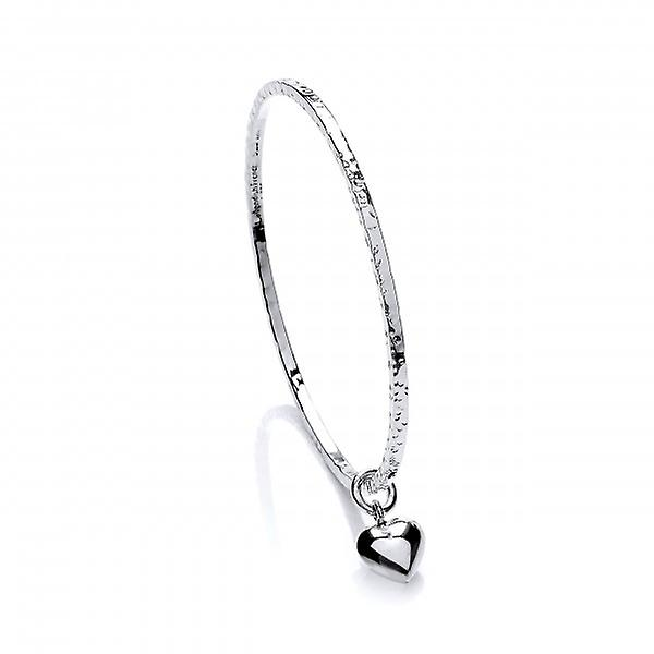 Cavendish French Sterling Silver Diddy Heart Charm Beaten Bangle