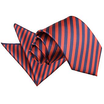 Men's Thin Stripe Navy Blue & Red Tie 2 pc. Set