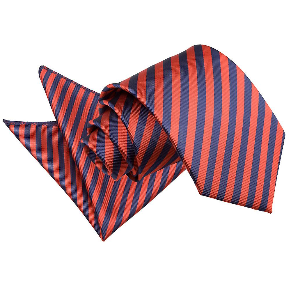 Navy Blue & Red Thin Stripe Tie 2 pc. Set