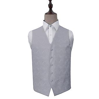 Silver Paisley Patterned Wedding Waistcoat