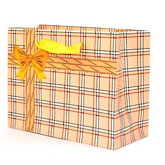 1PK LARGE Gift Bags Checks Glossy Luxurious Paper bags for Wedding Christmas Birthday Party