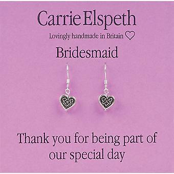 Carrie Elspeth Silver Bridesmaid Heart Sentiment Drop Earrings