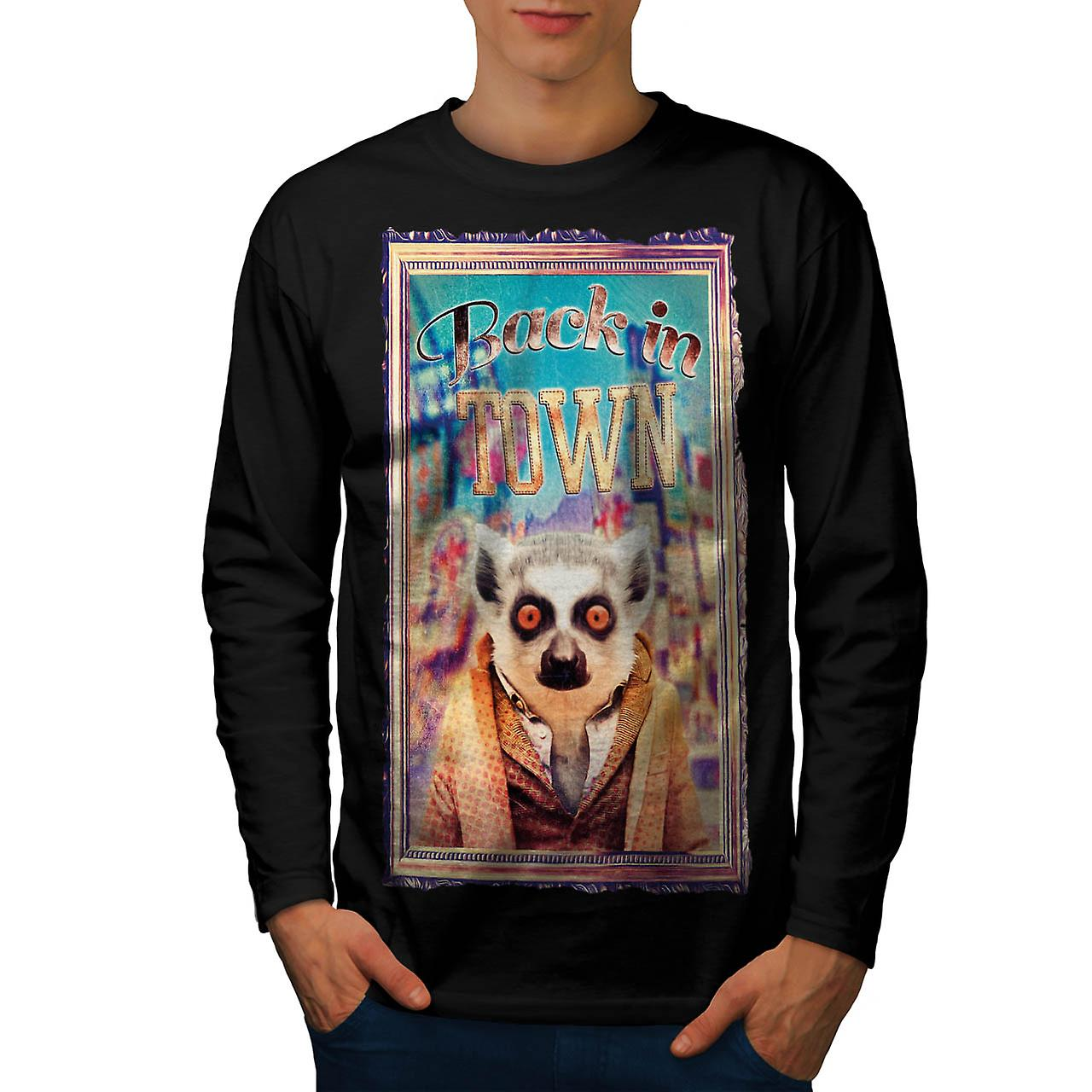 Back In Town Lemur Monkey Life Men Black Long Sleeve T-shirt | Wellcoda