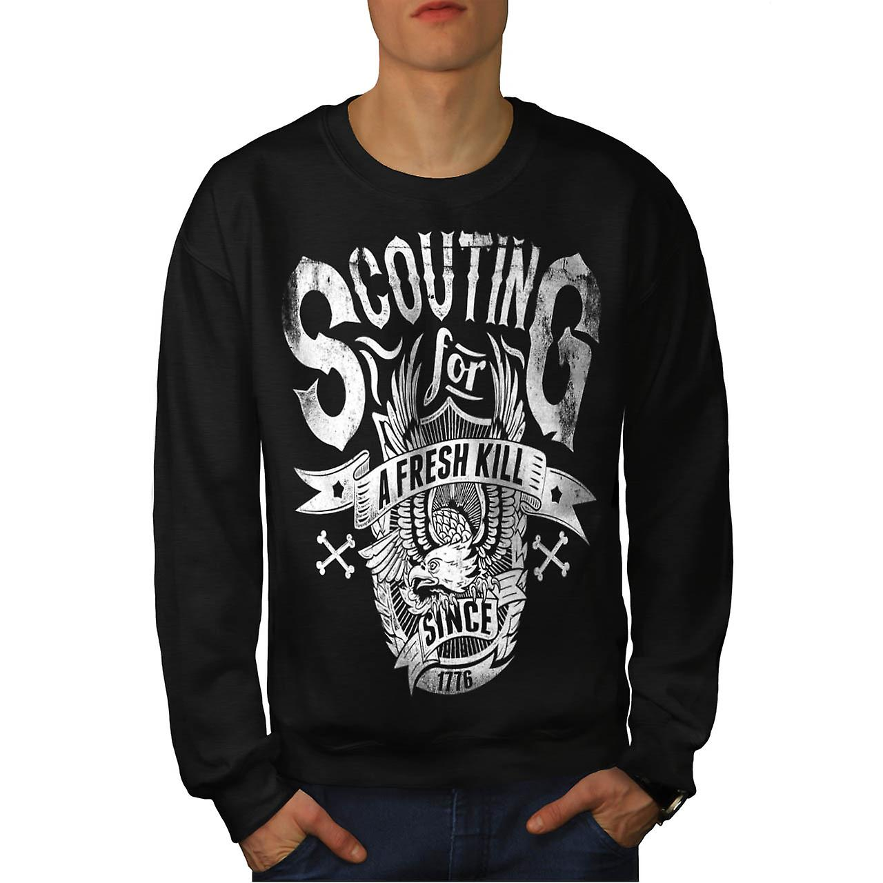 Eagle Fresh Kill Eat Scout Club Men Black Sweatshirt | Wellcoda