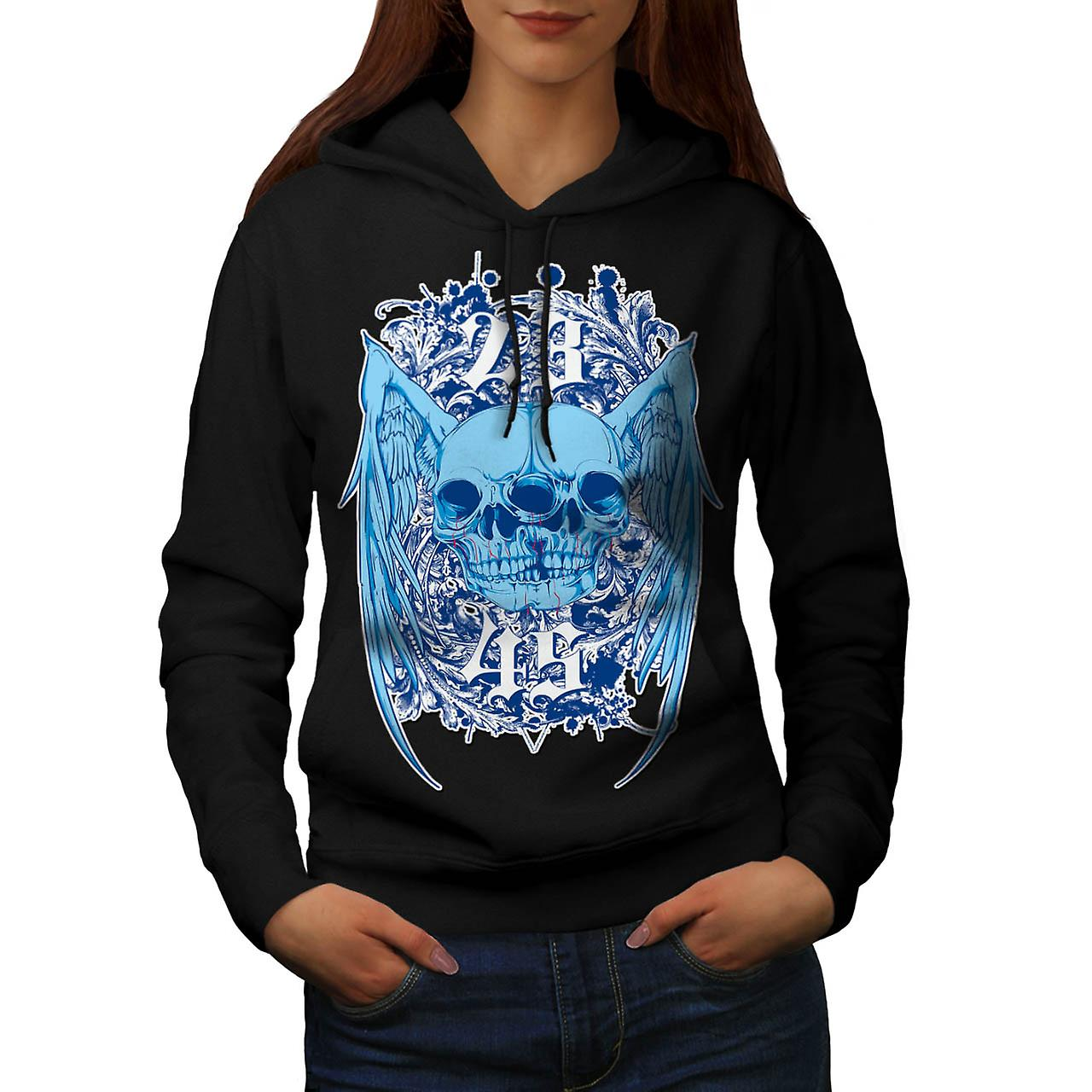 Double Skull Ghost Joint Monster Women Black Hoodie | Wellcoda