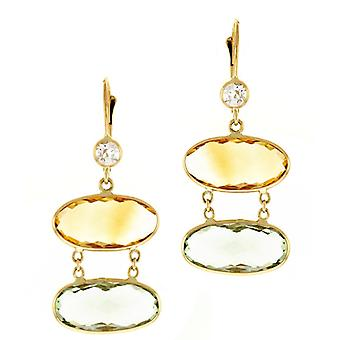 14k Yellow Gold Earrings Citrine and G. Ame Green Amethyst