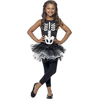Smiffys Childrens meisjes skelet kostuum Tutu jurk Halloween Fancy Dress Black
