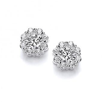 Cavendish French Cubic Zirconia Encrusted Silver Stud Earrings