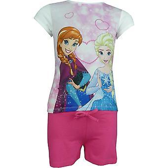 Mädchen Disney Gefrorene Elsa & Anna 2 Stück Set Kurzarm T-Shirt & Shorts
