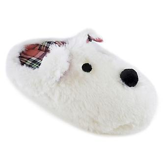 Ladies SlumberzzZ Soft Faux Fur Dog Design Plaid Check Lined SlipOn Mule Slipper
