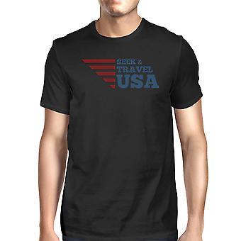 Seek & Travel USA American Flag Shirt Mens Black Cotton Graphic Tee