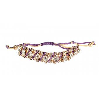 W.A.T Mauve Macrame Cord And Crystal Friendship Bracelet
