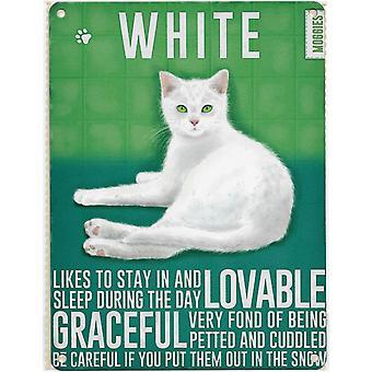 Medium Wall Plaque 200mm x 150mm - White Cat
