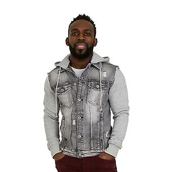 Mens Grey Denim Jacket with Hood Slim Fit with Jersey cotton sleeves and detacha