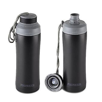 Pioneer Stainless Steel Vacuum Insulated Leakproof Screwtop Sports Flask 8 Hours Hot 24 Hours Cold 450Ml, 0.45L, Black