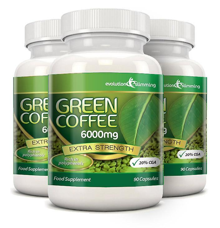 Green Coffee Bean Pure 6000mg with 20% CGA - 270 Capsules (3 Months) - Fat Burner and Antioxidant - Evolution Slimming