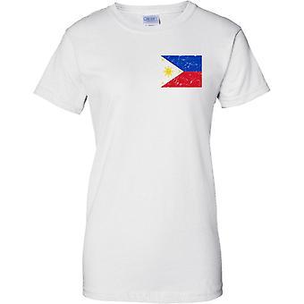 Filipinas angustiado Grunge efeito bandeira Design - Design t-shirt de senhoras no peito
