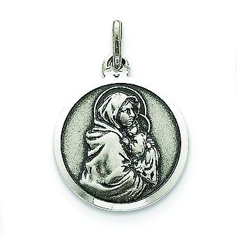 Sterling zilveren solide gepolijst Engravable antiek finish onze lieve vrouw van Smarten medaille charme - 3,0 gram