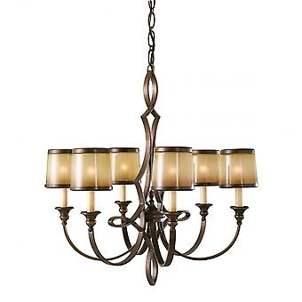 Feiss Oriental Oil Rubbed 6 Amber Shade Chandelier Light