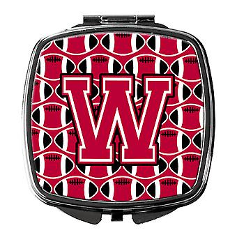 Letter W Football Crimson and White Compact Mirror
