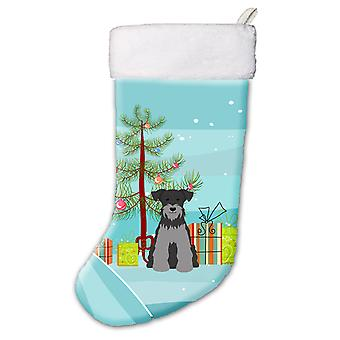 Merry Christmas Tree Miniature Schanuzer Black Silver Christmas Stocking