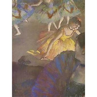 Ballerina And Lady With Fan Poster Print by Edgar Degas (16 x 22)