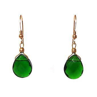 GEMSHINE ladies earrings with green tourmaline quartz gemstones. 2 cm gold plated gemstone earrings drop. Made in Munich / Germany. Delivered in the elegant jewelry with gift box.