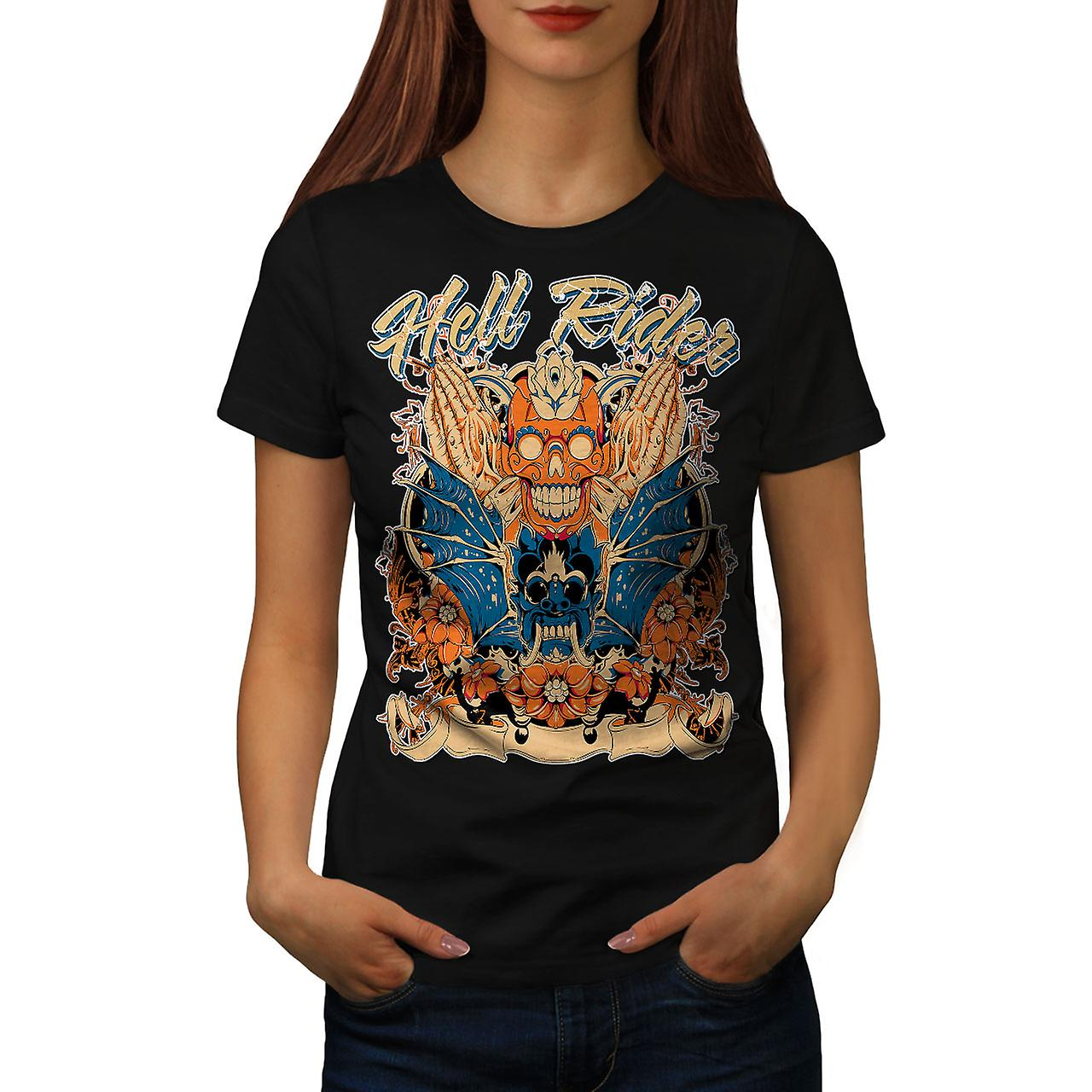 Hell Rider Rose Biker Women Black T-shirt | Wellcoda