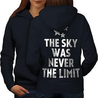Небо это предел, говорят смешные женщин NavyHoodie обратно | Wellcoda