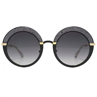 Jimmy Choo Gotha Crystal Glitter Round Sunglasses In Black Gold