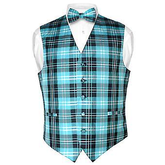 Men's Plaid Design Dress Vest & BOWTie BOW Tie Set