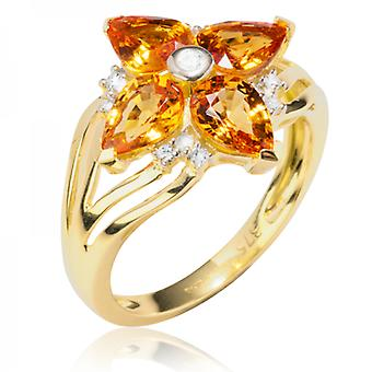 Ladies Shipton And Co Exclusive 9ct Yellow Gold And Four 7x5 Pearshape Mandarin Garnets And 0.12cts Diamonds Ring RYD121SGD