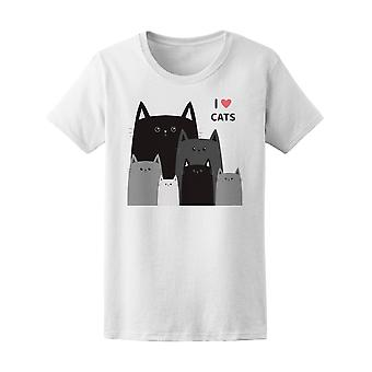 I Love Cats Kitties Graphic Tee Women's -Image by Shutterstock