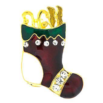 Broscher Store röd & grön emalj Crystal Christmas Stocking brosch - guld